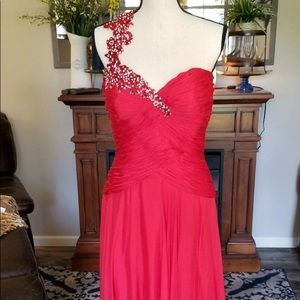 Formal Red one strap beaded gown sz 18
